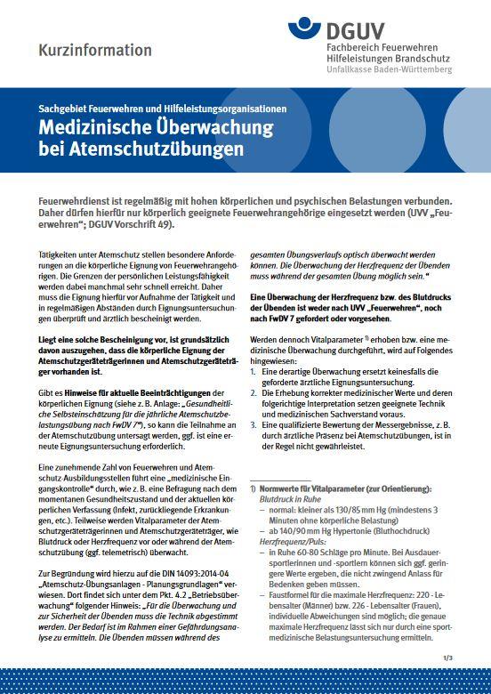 Medizinische Überwachung bei Atemschutzübungen